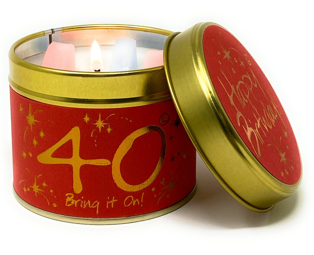 Happy Birthday 40th Scented Candle Tin